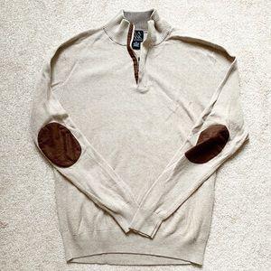 Executive Collection   Beige quarter zip sweater
